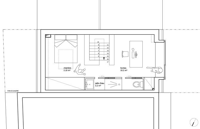 chambre au r1 et un espace pour les parents sous les combles chambre dressing salle deau et coin bureau - Espace Bureau Dans Chambre Parentale